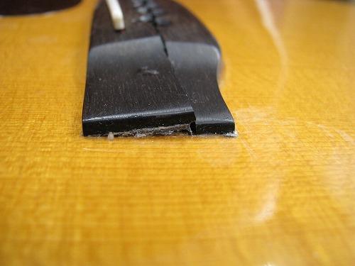 フォークギター 修理 MARTIN D-45 ブリッジ割れ 5